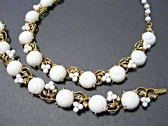 Vintage LISNER Early Plastic Necklaces & Bracelets White - Collectible Jewelry #Lisner