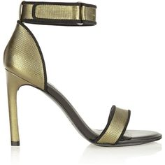 ATELJE 71 Jask metallic textured-leather sandals ($133) ❤ liked on Polyvore featuring shoes, sandals, green, army green sandals, metallic shoes, army shoes, velcro sandals and army green shoes