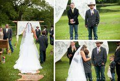 Rustic Wedding Ceremony #rusticwedding #lace #wood #yellow #wedding #cowboywedding #cowboyboots