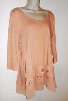 LOGO Lori Goldstein M Knit Tunic Sheer Trim Slub Embellished Floral Top Peach #LOGObyLoriGoldstein #Tunic