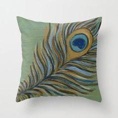 Peacock Feather Art Pillow Cover 16 x 16 or 18 x by CreativeStash, $35.00