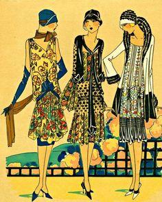 Art Deco Day Frocks and Jackets, Arte Fashion, Fashion Mode, Moda Fashion, Art Deco Fashion, Fashion Prints, Retro Fashion, Vintage Fashion, Fashion 1920s, 1920s Fashion Dresses
