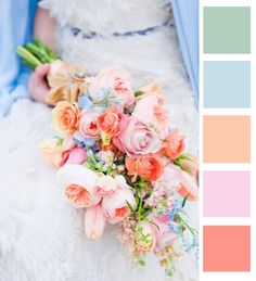 Lovely colours for different but coordinating bridesmaids dresses. Add pale yellow too maybe.
