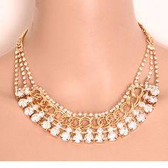 Collares Women Crysatl Necklaces & Pendants Gold Silver Black Color Rhinestone Choker Statement Necklace Collier Femme