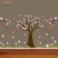 Nursery Playroom Owl Tree Bird Vinyl Wall Art Decals Mural flowers butterflies via Etsy