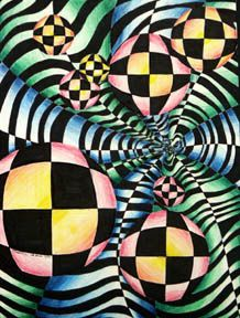 Op ARt lesson- movement depth and color contrast