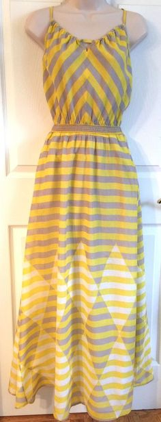 Anthropologie 'Diamond Rays' Summer Beach Yellow Maxi Dress Lilka XS 0 2 | eBay
