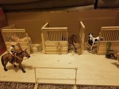 Right section of stalls in the diy schleich stable. FYI, I love mules