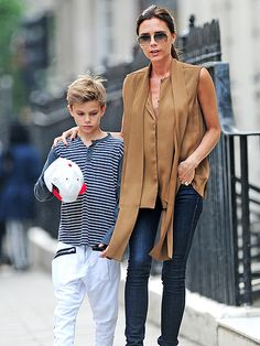 TWO FOR THE ROAD photo | Victoria Beckham and 10 1/2 year olf son Romeo in London.