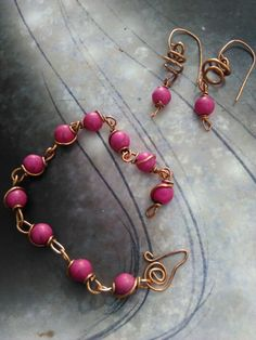 Hey, I found this really awesome Etsy listing at https://www.etsy.com/listing/386735866/hot-pink-stone-and-copper-wire-jewelry