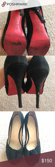 Christian Louboutin Suede Peep Toe Pumps Louboutin suede platform peep toe pump heels. Retail $865. Bought them for myself after a break up and as you can tell - they were put to the test. As it turns out red soles really do cure the heart when it's feeling blue. I don't have the patience to find a good, affordable shoe person to repair them, but if you do then let me know if interested. I haven't put up any worn shoes so please reach out with what is reasonable $. They've served me well :)…
