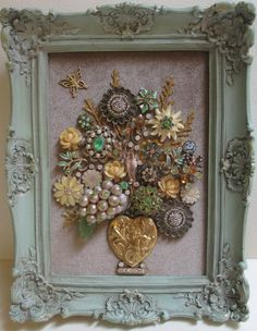 Hey, I found this really awesome Etsy listing at https://www.etsy.com/listing/292890601/jeweled-framed-jewelry-flower-bouquet