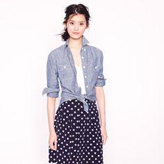 Selvedge chambray shirt & spotty skirt