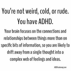 Adhd Odd, Adhd And Autism, Infp, Adhd Facts, Trauma, Adhd Quotes, Adhd Help, Adhd Brain, Attention Deficit Disorder