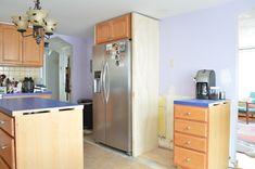 Building a fridge surround -- Plaster & Disaster Blue Kitchen Cabinets, Diy Kitchen, Kitchen Design, Built In Refrigerator, Plaster, Kitchen Remodel, Building, House, Basement