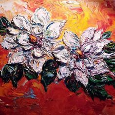 """""""Magnificent Magnolias"""" 3-D Oil Sculpture by Carrie Cameron #galeriabuenavida #mypaintings"""