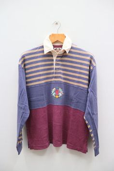 f6d9b613b41 Vintage BENETTON RUGBY CLUB Small Logo Sportswear Purple Rugby Polo Shirt  Size 48