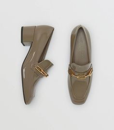 Link Detail Patent Leather Block-heel Loafers in Taupe Grey - Women Block Heel Loafers, Heeled Loafers, Leather Fashion, Fashion Shoes, Gucci, Burberry, Tan Pumps, Coach Boots, Sperry Shoes