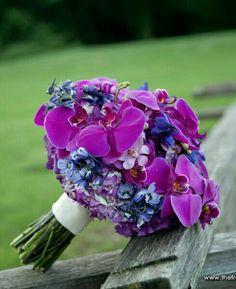 Hand Tied Wedding Bouquet Showcasing: Purple Hydrangea (Tinted), Purple Phalaenopsis Orchids, Lavender Orchids, Blue Delphinium