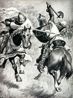 Robert the Bruce faces Henry de Bohun at the Battle of Bannockburn. Henry was our 24th great grandfather.