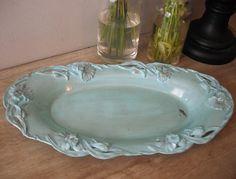 upcycled Tiffany blue Shabby chic Iris ornate tray ... cottage chic Victorian via Etsy