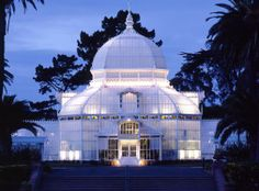 Conservatory of Flowers at Golden Gate Park, San Francisco, CA. Architect: Architectural Resources Group (David Wakely Photography) #GoldenGatePark #lighting #SanFrancisco