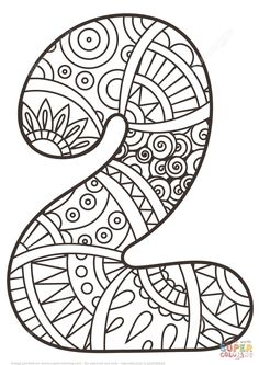 Number 2 Zentangle coloring page from Zentangle Numbers category. Select from 27007 printable crafts of cartoons, nature, animals, Bible and many more.