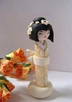 Kokeshi Doll Miniature Doll in Golden Ivory and White , Unique Polymer clay Handmade Sculpture doll by Efi