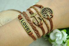 Retro Bronze cuff bracelet Wishing Tree & Love Anchor by Evanworld, $3.99