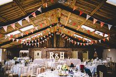 Bunting Lights Magical Grey Coral Barn Wedding http://www.stevebridgwoodphotography.co.uk