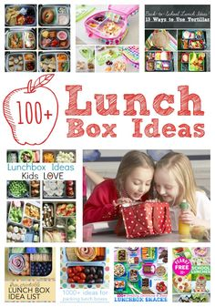 100+ School Lunch Box Ideas! My kids aren't the biggest fan of school lunches. And packing can be so boring! Excited to try some of these out!!