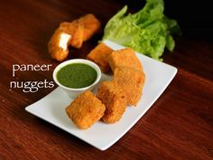 paneer nuggets recipe, paneer bites, crispy cottage cheese nugget with step by step photo/video. vegetarian fast food alternative to meat or chicken nuggets Vegetarian Fast Food, Vegetarian Recipes Videos, Cooking Recipes, Spicy Recipes, Cheese Recipes, Bread Recipes, Indian Snacks, Indian Food Recipes, Ethnic Recipes