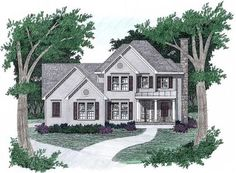 The Wildwood is a two-story home with 2.5 bathrooms, 3 bedrooms plus an optional additional bonus room, main level master bedroom with full bath and trey ceiling, main level laundry room, breakfast nook, exterior deck, formal dining area, upstairs balcony down to the living room, and attached two-car