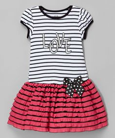 Fuchsia Stripe 'Love' Drop-Waist Dress - Infant & Toddler