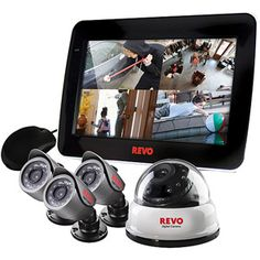 REVO Indoor/Outdoor 4-Channel Surveillance System with DVR, LCD Monitor and 4 Night Vision Security Cameras