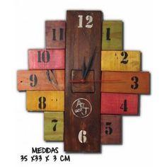 Reloj Madera Pared Hogar Color Decoración Colores