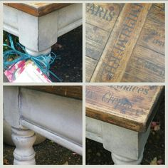 Shabby chic rustic french farmhouse coffee table in a 3 colour Annie Sloan paint finish and dark wax and graphite mix stencilled top, by Imperfectly Perfect xx