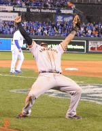 Kung Fu Panda and the final catch of the 2014 World Series. GIants defeat the Royals 4 games to 3.