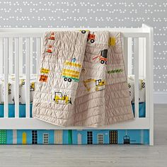 Sale ends soon. This blue crib skirt features appliqued and embroidered skyscraper buildings. It coordinates with our Construction Crib Bedding. Sports Bedding, Crib Bedding Boy, Comforter, Truck Nursery, Nursery Room, Nursery Ideas, Boys Construction Room, Blue Crib, Luxury Bedding Collections