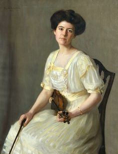 The Violinist Mary Neal Richardson (American, Oil on canvas. From Woman's Who's Who of America, Artist, painter (portraits)…studied at Colarossi Acad., Paris…Has drawn or. Auguste Rodin, Romantic Drawing, Edwardian Fashion, Beauty Art, American Women, Art Music, American Artists, Art History, Mary