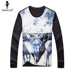 cf398ddfe Aliexpress.com   Buy Troilus Autumn Spring New Men Snow Deer Printed  Sweatshirt Pullovers Long Sleeve Tops Outerwear Sweatshirts Tees Black  Clothing from ...