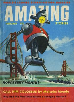 The Science Fiction Gallery Pulp Fiction, Fiction Novels, Science Fiction Magazines, Science Fiction Art, Motif Vintage, Retro Robot, Classic Sci Fi, Pulp Magazine, Sci Fi Books