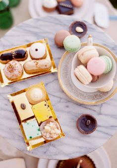 Let's have a tea party with unlimited supply of macarons and tiny desserts.