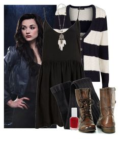 """""""Allison Argent inspired look"""" by candysweetieglam ❤ liked on Polyvore featuring MANGO, H&M, Steve Madden, Essie, women's clothing, women, female, woman, misses and juniors"""