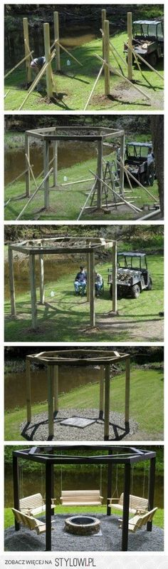 swings around a campfire!! would definitely build this with the hubby