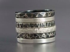 Sterling Silver Stacking Ring Textured 2mm Wide by LichenAndLychee, $32.00