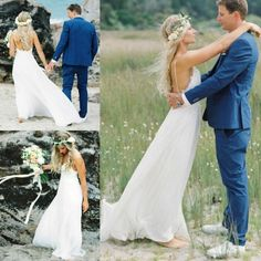 Bohemian Backless Kant Strand Trouwjurk 2017 Sexy Spaghettibandjes Hippie Bruidsjurken Boho Wedding Dres