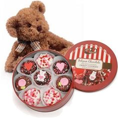 "16 heart-sprinkled chocolate covered Oreos® AND an 11"" Teddy Bear are an adorable accompaniment to one another this Valentine's Day! $49.95 www.ediblegiftsplus.com"