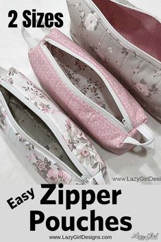"""Easy Zipper Handle Pouches! Use 10"""" squares and a zipper to make a collection of these easy zipper pouches. Use part of the zipper for handles on each end. Zipper pouches will keep you organized at home and on the go! Small zipper pouches are wonderful in the sewing room, suitcase organization, or a pencil case, and more. #LazyGirlDesigns #ZipperPouch #Sewing #Zipper Easy Sewing Projects, Sewing Projects For Beginners, Sewing Hacks, Sewing Tutorials, Sewing Tips, Makeup Bag Tutorials, Tutorial Sewing, Small Zipper Pouch, Zipper Bags"""