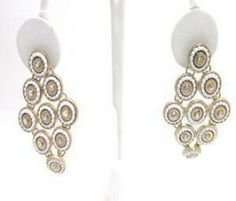 18k Gold Filled White Beads And Swarovski crystals Dangle Earrings / SKU 181